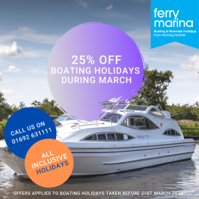 25 off March boating holidays